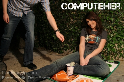 "This was my first ever photo shoot I did for Geek Monthly Magazine Issue # 5! ""Will DDR For Food."" ;] Photo credit: Dove Shore"